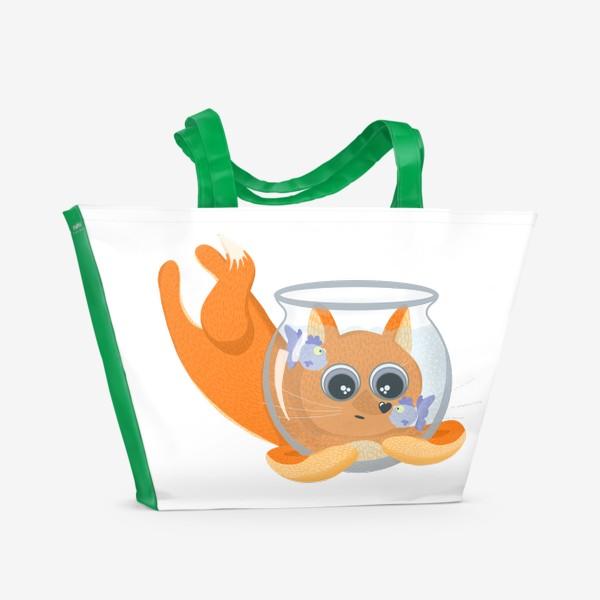 Пляжная сумка «Лиса фыр-фыр с аквариумом»