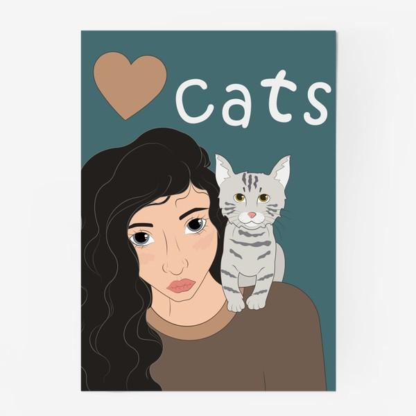 Постер «I love cats»
