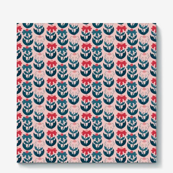 Холст «Текстурные цветы - красный и синий»