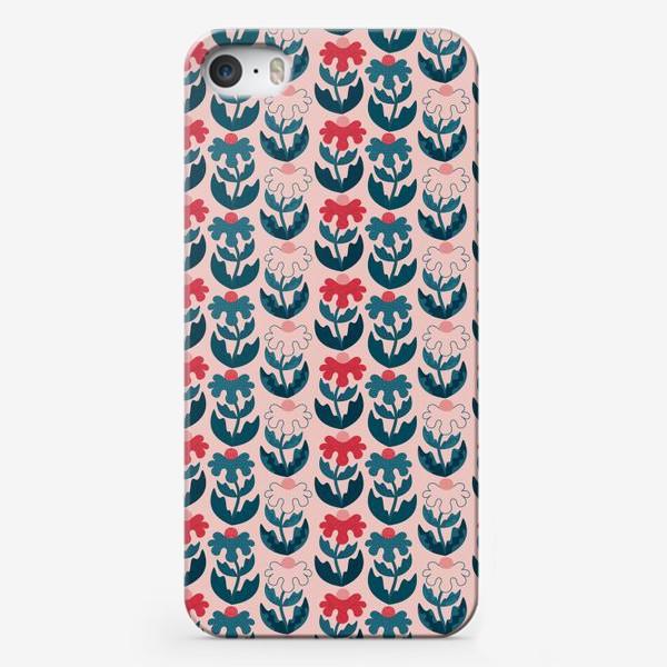Чехол iPhone «Текстурные цветы - красный и синий»