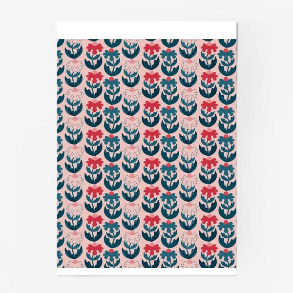 Постер «Текстурные цветы - красный и синий»