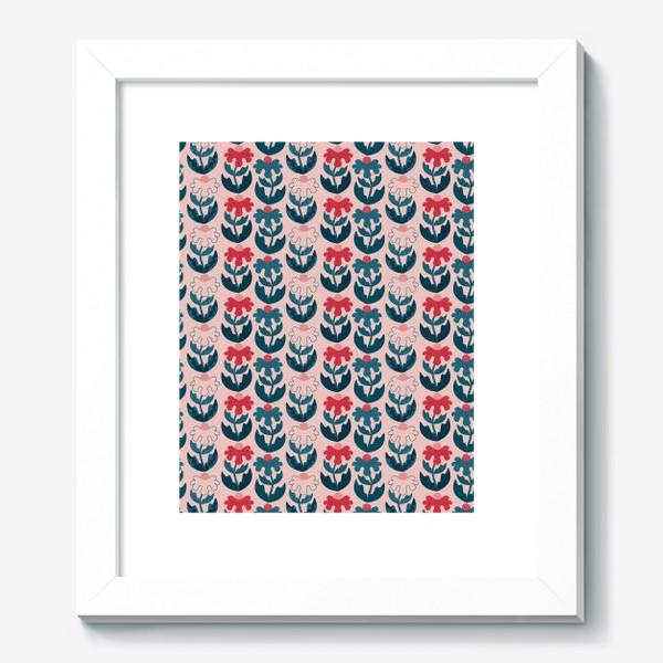 Картина «Текстурные цветы - красный и синий»