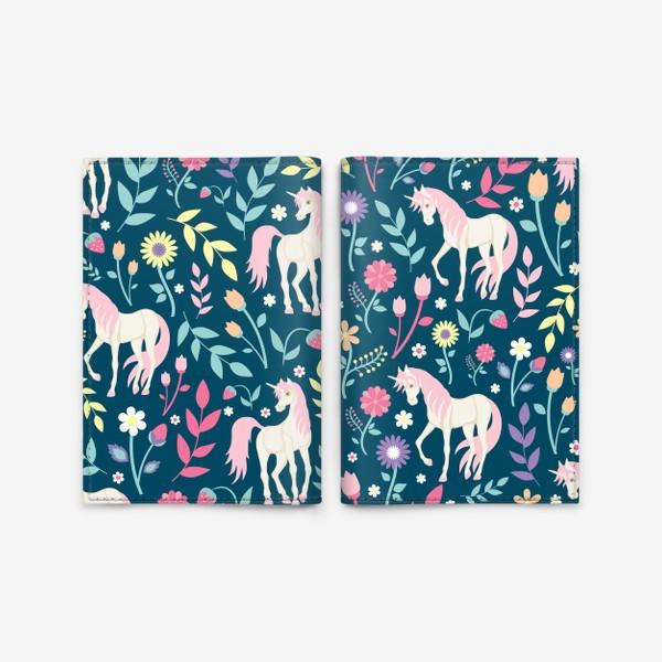 Обложка для паспорта «Fairy unicorns and flowers »