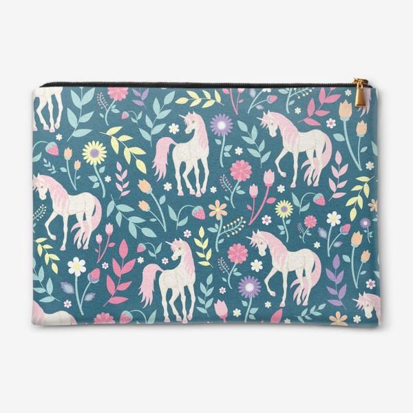 Косметичка «Fairy unicorns and flowers »