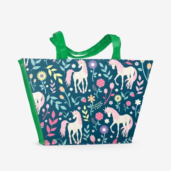 Пляжная сумка «Fairy unicorns and flowers »