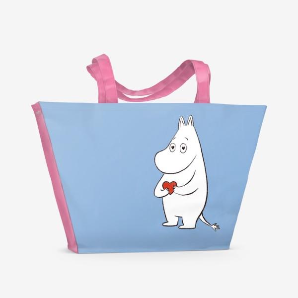 Пляжная сумка «Муми-тролль любовь сердце 8 марта»