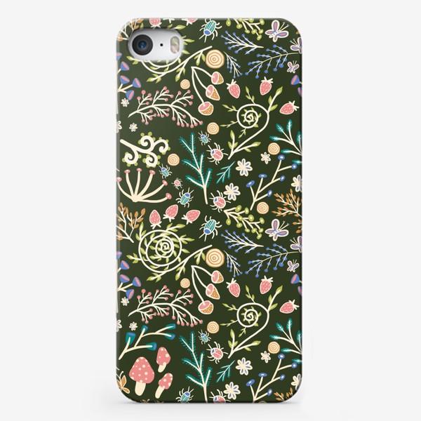 Чехол iPhone «Жуки, грибы, растения»