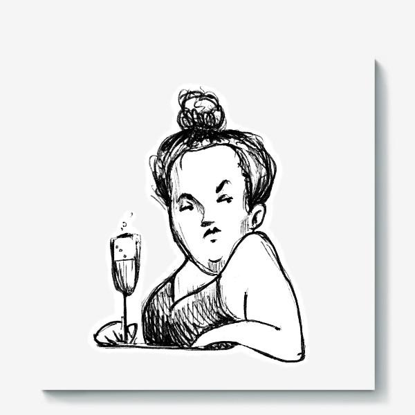 Холст «Женщина вино бокал шампанское пышечка»