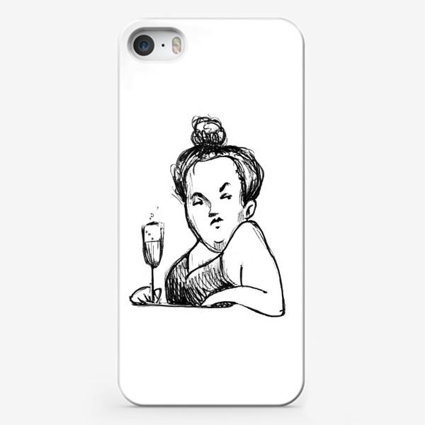 Чехол iPhone «Женщина вино бокал шампанское пышечка»