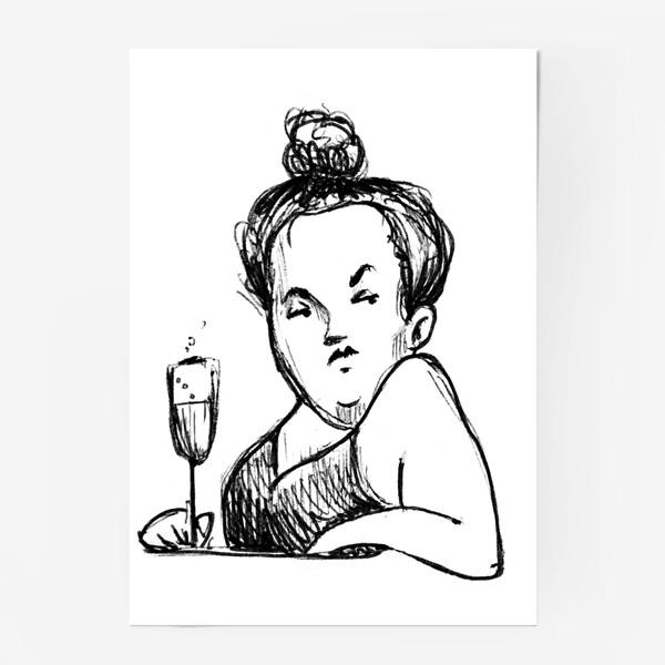 Постер «Женщина вино бокал шампанское пышечка»