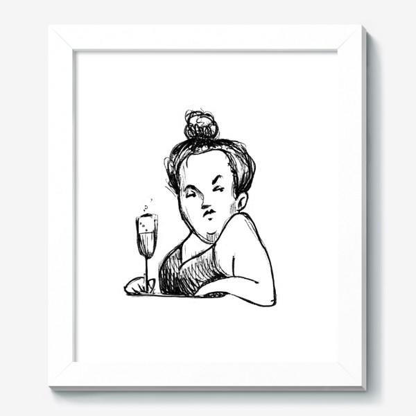 Картина «Женщина вино бокал шампанское пышечка»
