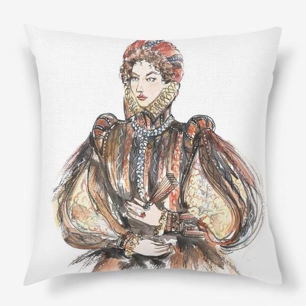 Подушка «Красивая девушка в историческом костюме»