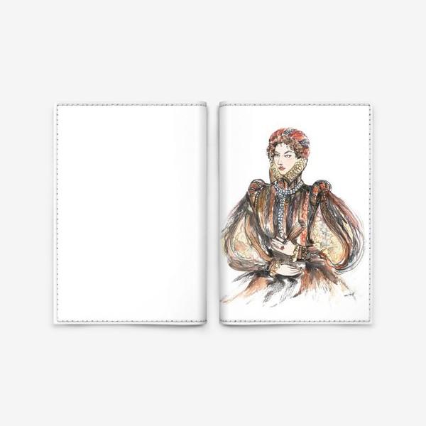 Обложка для паспорта «Красивая девушка в историческом костюме»