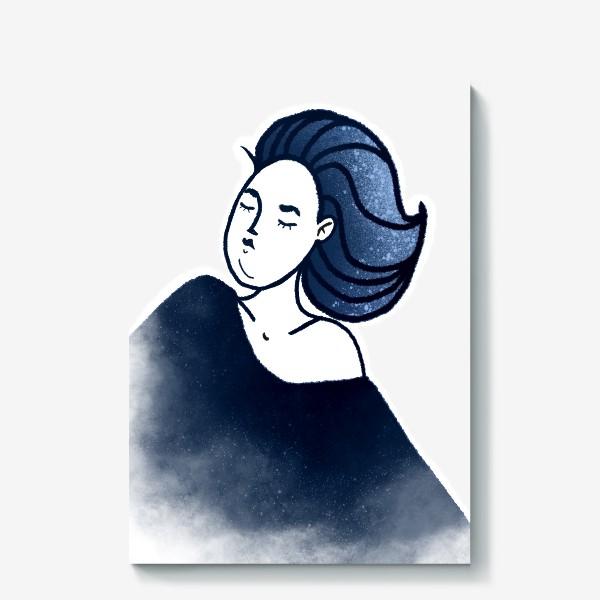 Холст «Звёзды ночь синее женщина»