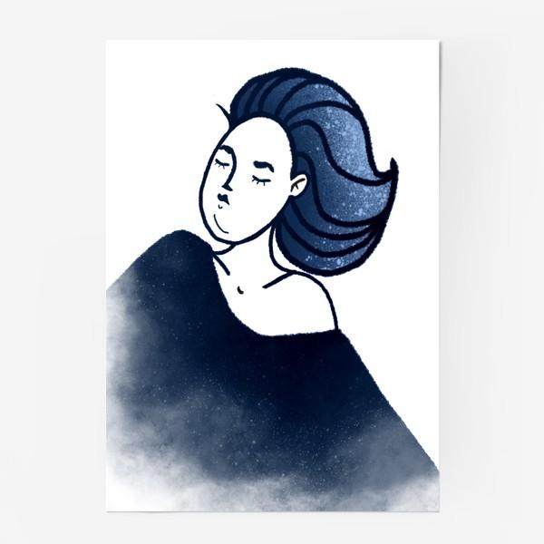 Постер «Звёзды ночь синее женщина»