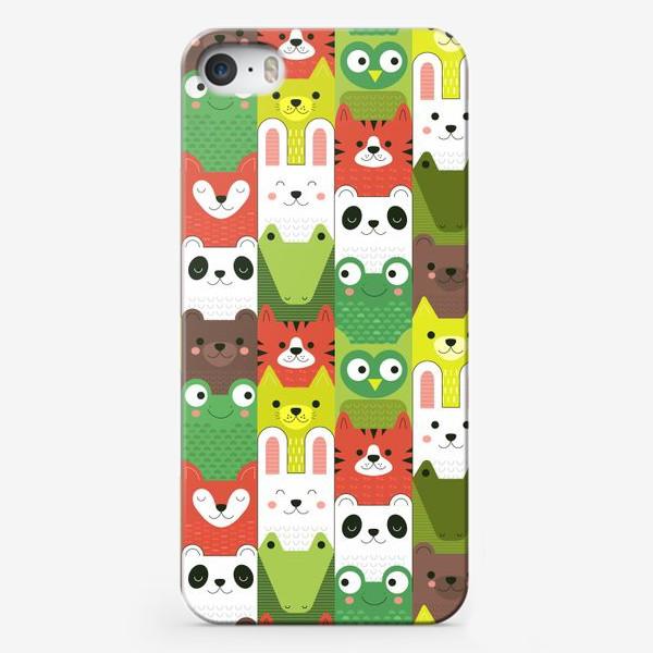 Чехол iPhone «Детский  зоо принт - геометричные звери»