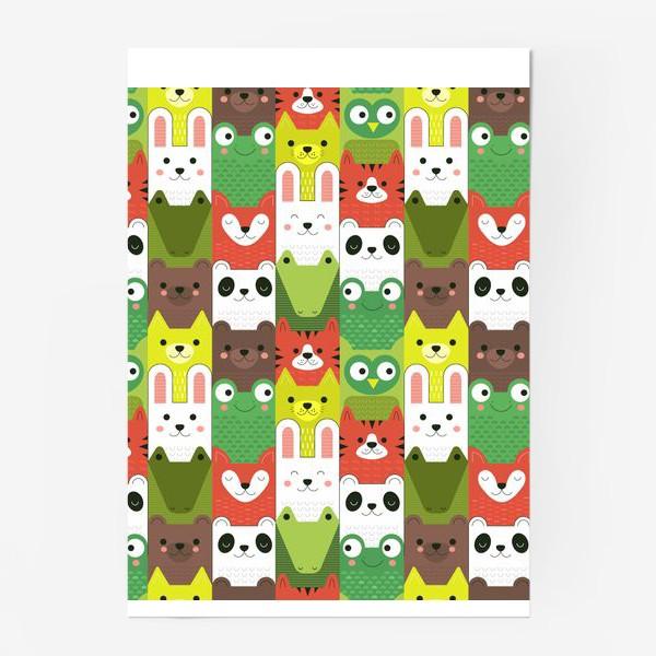 Постер «Детский  зоо принт - геометричные звери»