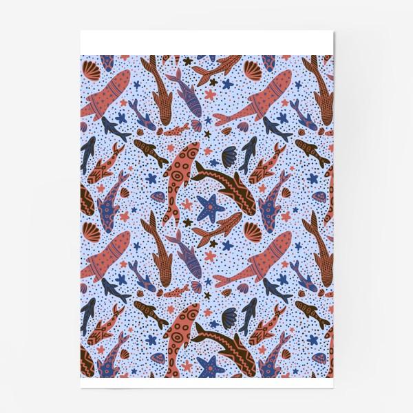 Постер «Море рыбы на голубом»