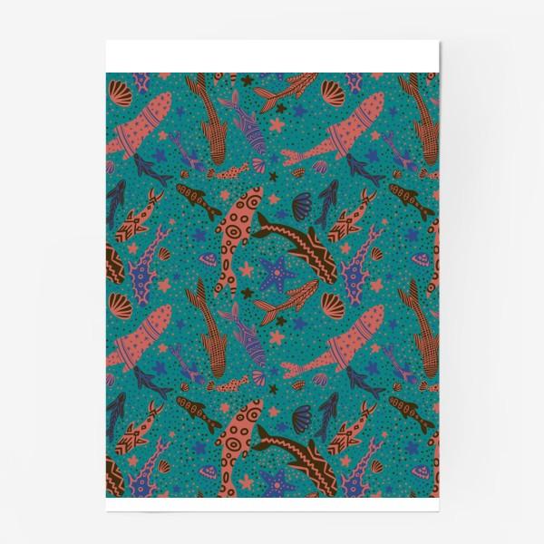 Постер «Море рыбы на изумрудном »