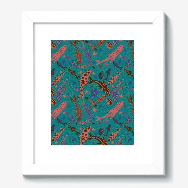 Картина «Море рыбы на изумрудном »
