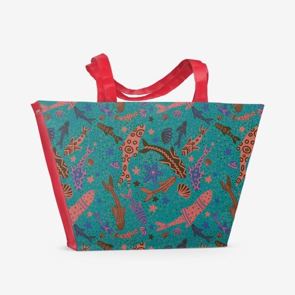 Пляжная сумка «Море рыбы на изумрудном »