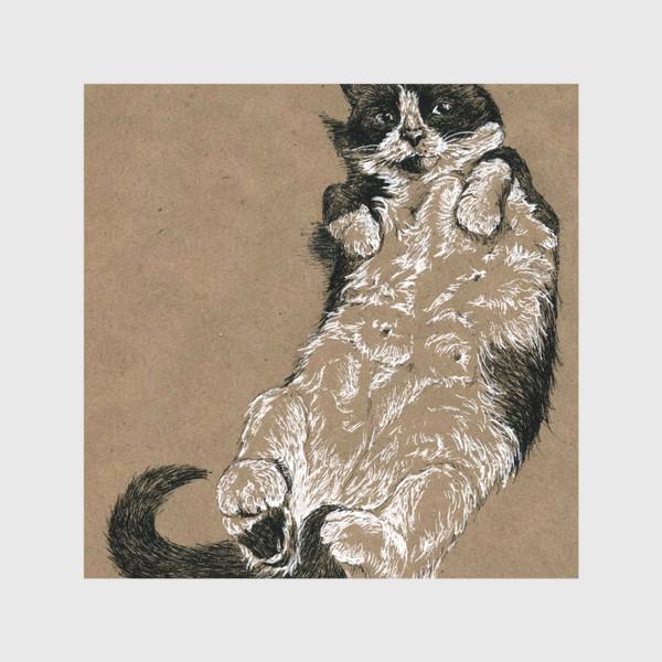 Скатерть «Чернобелый кот лежит на спине»
