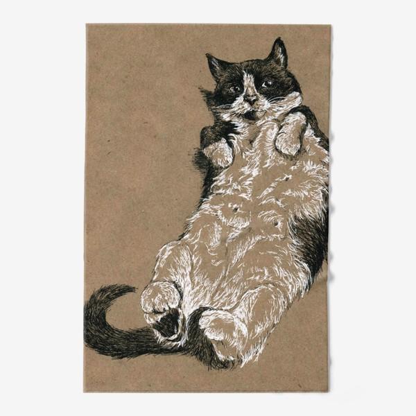 Полотенце «Чернобелый кот лежит на спине»
