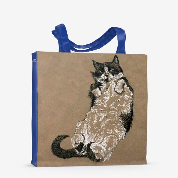 Сумка-шоппер «Чернобелый кот лежит на спине»