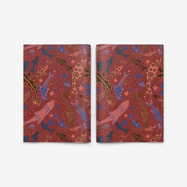 Обложка для паспорта «Море рыбы на красном »