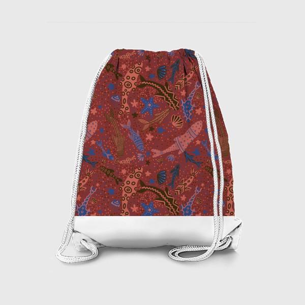 Рюкзак «Море рыбы на красном »