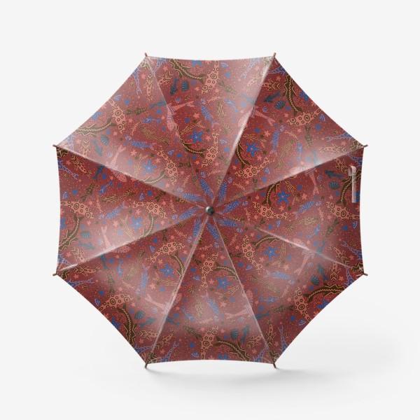 Зонт «Море рыбы на красном »