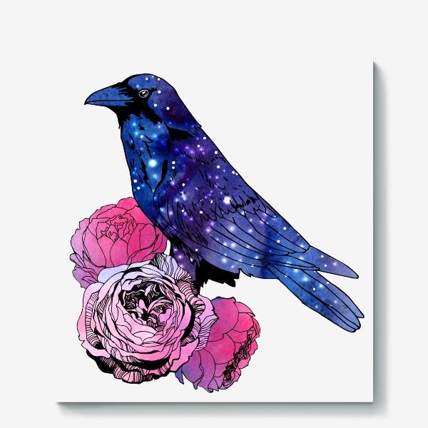 Холст «Космический  ворон и цветы»