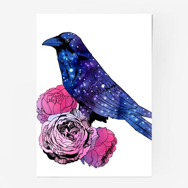 Постер «Космический  ворон и цветы»