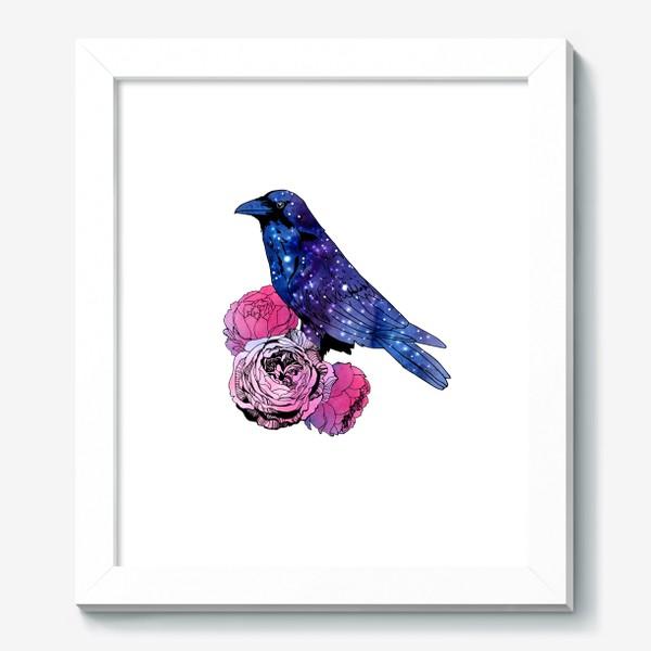 Картина «Космический  ворон и цветы»