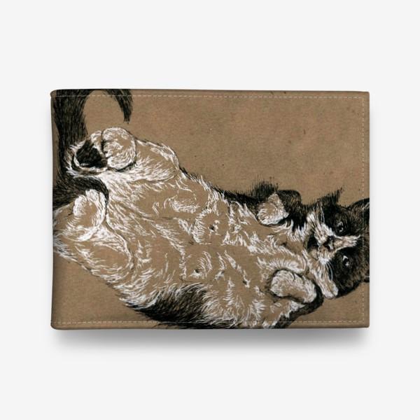 Кошелек «Чернобелый кот лежит на спине»