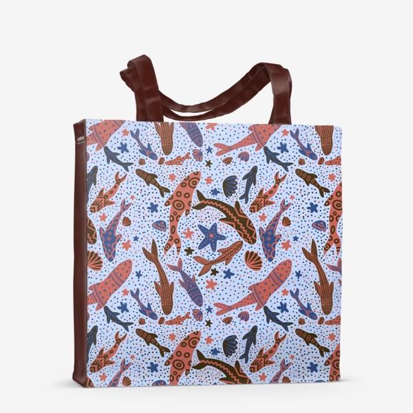 Сумка-шоппер «Море рыбы на голубом»