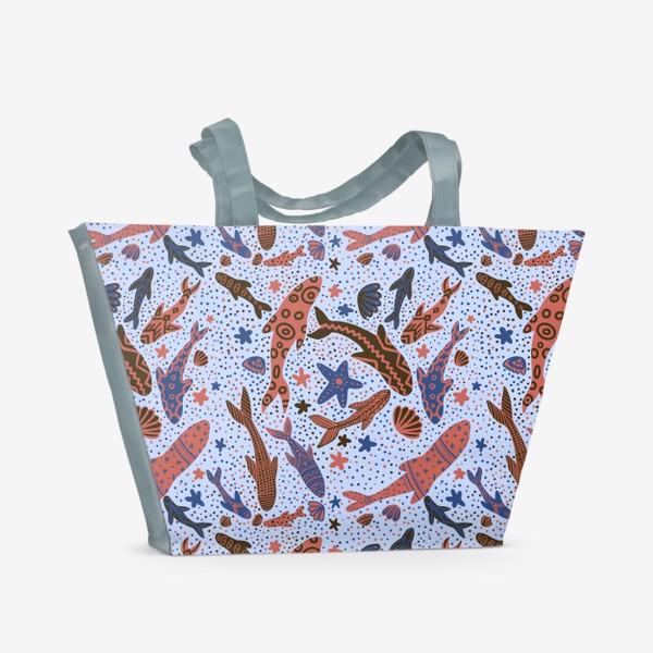 Пляжная сумка «Море рыбы на голубом»