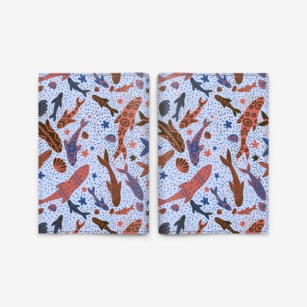 Обложка для паспорта «Море рыбы на голубом»