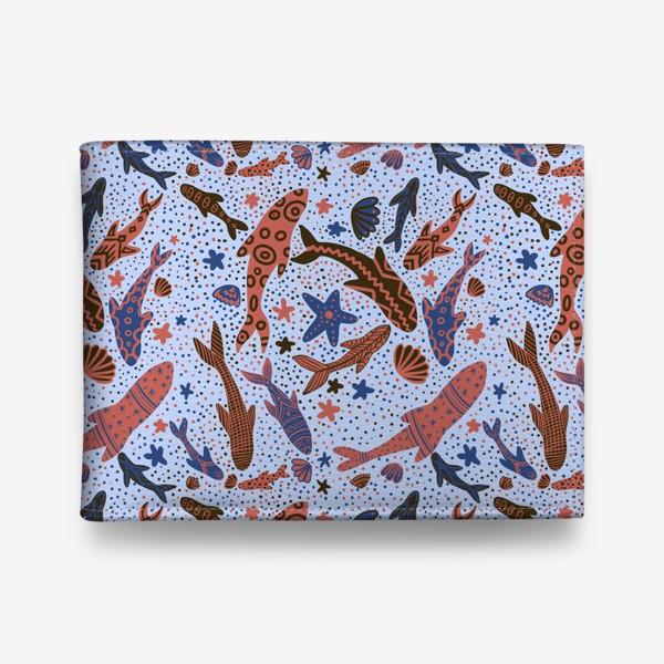 Кошелек «Море рыбы на голубом»