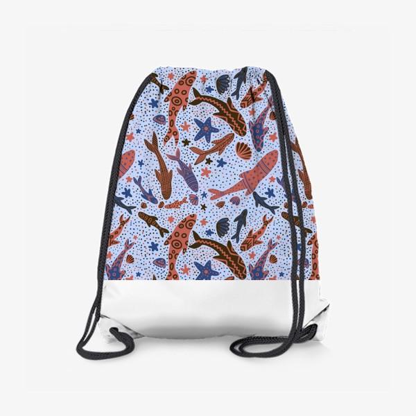 Рюкзак «Море рыбы на голубом»