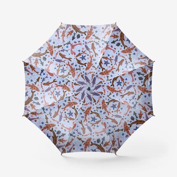 Зонт «Море рыбы на голубом»