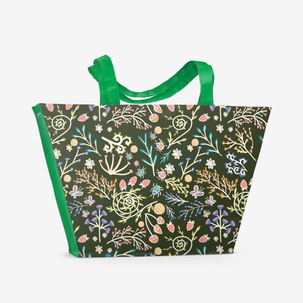 Пляжная сумка «Жуки, грибы, растения»