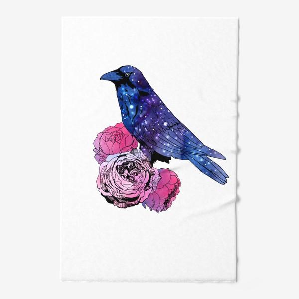Полотенце «Космический  ворон и цветы»