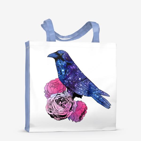 Сумка-шоппер «Космический  ворон и цветы»