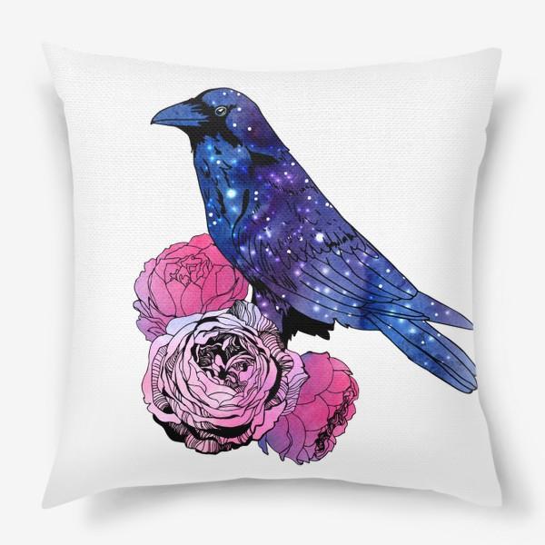 Подушка «Космический  ворон и цветы»