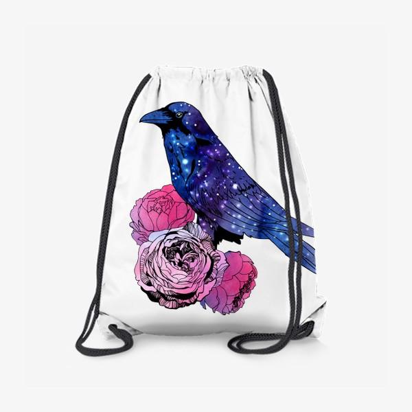 Рюкзак «Космический  ворон и цветы»