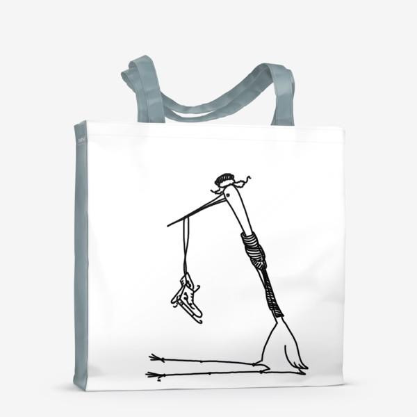 Сумка-шоппер «Птица с коньками. Ждет зимы»