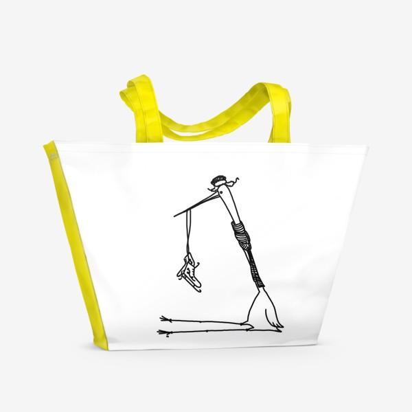 Пляжная сумка «Птица с коньками. Ждет зимы»