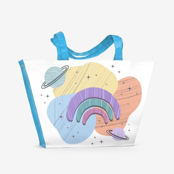 Пляжная сумка «Абстрактные пятна (космос, радуга)»