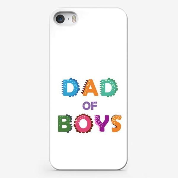 Чехол iPhone «Папа мальчиков. Яркая надпись»